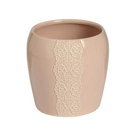 image-Hill Ceramic lace detail candle holder in peach