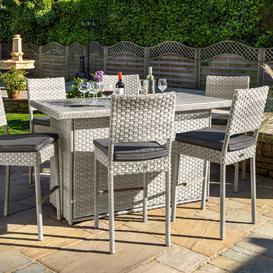 image-2020 Hartman Heritage 6 Seat Garden Bar Table Set with Integrated Cushion Box  - Ash/Slate