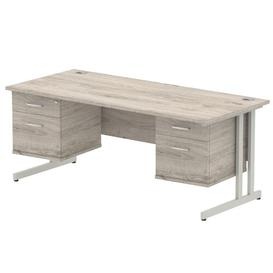 image-Zetta Executive Desk Ebern Designs Frame Colour: Grey, Size:  73cm H x 180cm W x 80cm D