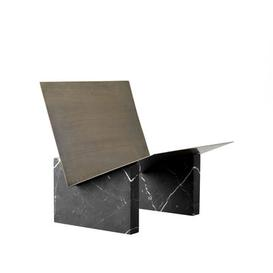 image-Monuments Magazine holder - / Marble and brass by Menu Black/Metal