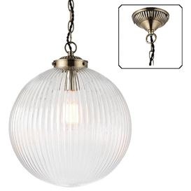 image-Endon 71124 Brydon 1 Light Ceiling Pendant In Ribbed Glass And Antique Brass - Large- Diameter: 350mm