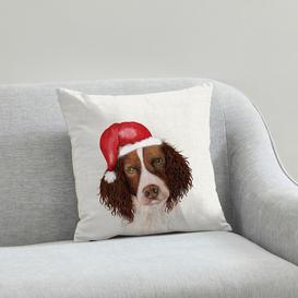 image-Spaniel Christmas Hat Cushion Natural