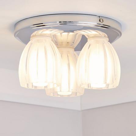image-Julius 3 Light Ribbed Glass Bathroom Flush Ceiling Fitting Silver