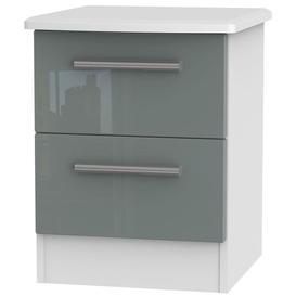 image-Knightsbridge 2 Drawer Bedside Cabinet - High Gloss Grey and White