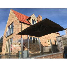 image-Square Cantilever Parasol Symple Stuff Colour: Slate, Base Type: In-ground Fitting, Open Umbrella Width (cm): 350