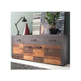image-Saige Sideboard In Old Wood And Graphite Grey With 4 Doors