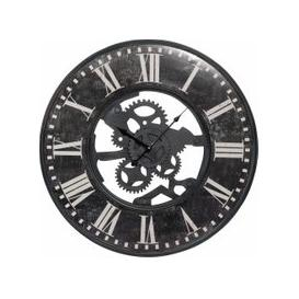 image-Antique Effect Black Metal Cog Clock D60