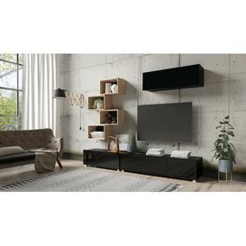 "image-Battista Entertainment Unit for TVs up to 60\"" Ebern Designs Colour: Matt Black/Gloss Black/Artisan Oak"