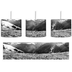 image-Mountain Landscape with a Rainbow and Crocuses 1-Light Drum Pendant East Urban Home Shade Colour: Black/White