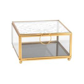 image-Gold Metal and Printed Glass Jewellery Box
