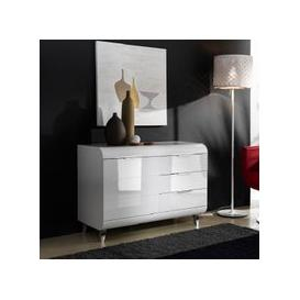 image-Kenia Small Sideboard In White High Gloss With 3 Drawers
