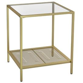 image-Tempered Glass Top Stable Steel Frame Side Table