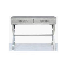 image-Lodi Pewter Faux Leather and Chrome Console Table