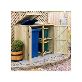image-Garden Village Superior FSC Wooden Wheelie Bin & Recycling Box Storage - 1 Wheelie Bin and 4 Recycle Boxes