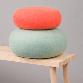 image-Kata and Kuno Pouffe Myfelt Upholstery Colour: Coral/Turquoise