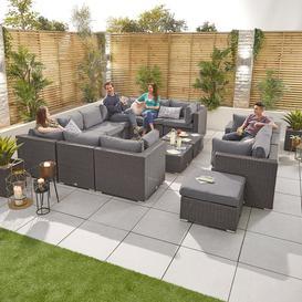 image-Nova Garden Furniture Chelsea Slate Grey Rattan 5A Corner Sofa Set with Coffee Table