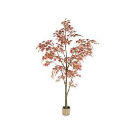 image-Artificial Red Japanese Maple Tree and Woven Pot