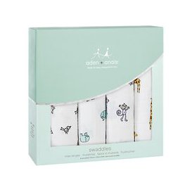 image-aden + anais Jungle Jam Baby Swaddle Blanket, Pack of 4