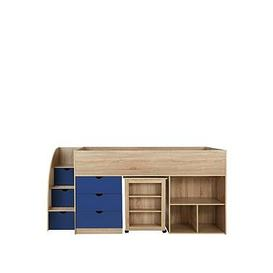 image-Mico Mid Sleeper Bed With Pull-Out Desk And Storage - Oak Effect/Blue - Mid Sleeper With Premium Mattress