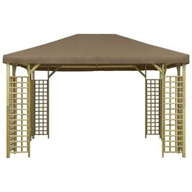 image-Ameliore 3m x 4m Solid Wood Patio Gazebo Sol 72 Outdoor Roof Colour: Taupe