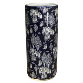 image-Ceramic Embossed Umbrella Stand, Blue/natural Village Design