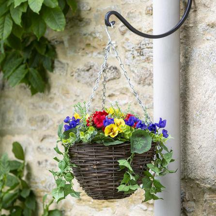 image-Artificial Flower Hanging Basket Brown and Silver