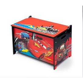image-Disney Pixar Cars Toy Box with Safety Hinge Cars