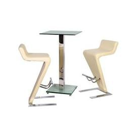 image-Spice Bar Table In Clear Glass With 2 Farello Bar Stool In Cream