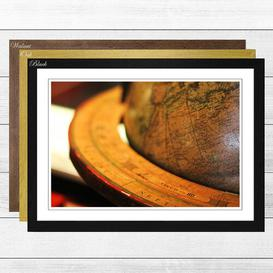image-'Globe World Map (2)' Framed Photographic Print East Urban Home Frame Colour: Oak