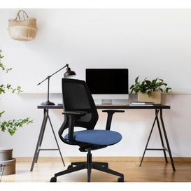 image-Bonny Ergonomic Mesh Desk Chair Ebern Designs Upholstery Colour: Denim Blue