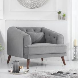 image-Destone Velvet Upholstered Armchair In Grey