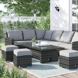 image-Minka 9 Seater Rattan Corner Sofa Set Dakota Fields Colour: Mixed Grey/Black