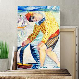 image-'Boy with Toy Boat' by Isaac Gr├╝newald Painting Print on Canvas Big Box Art Size: 76cm H x 50cm W