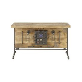 image-Metal and Mango Wood 4-Seater Dining Table W144 Pipeline