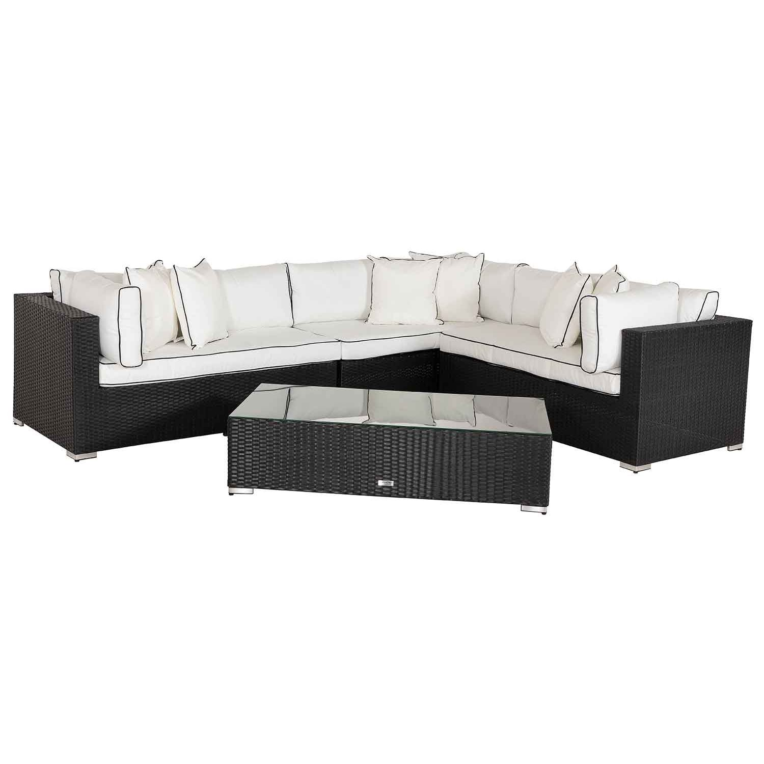 image-Monaco Rattan Garden Lefthand Corner Sofa Set in Black and Vanilla