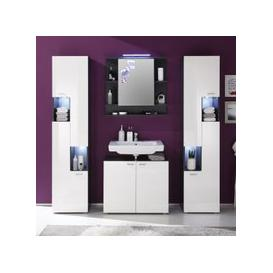 image-Tetis Bathroom Set In Graphite And White Gloss With Lighting