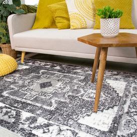 image-Traditional Oriental Black Distressed Living Room Rug - Enzo