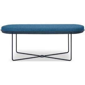 image-Floriston Admiral Blue Woven Fabric and Black Matt Ottoman Stool