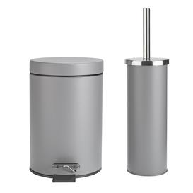 image-Argos Home Slow Close Bin and Toilet Brush Set - Flint Grey