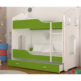 image-Liev 80 x 160 cm Bunk Bed with Drawer Isabelle & Max Colour (Bed Frame): Green/White, Mattress Included: Yes