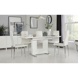image-Florence White High Gloss Extending Dining Table with 4 Leon White Leather Chairs