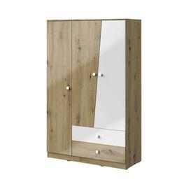 image-Nero NE-03 Wardrobe 120cm - 120cm White Gloss & Oak Artisan Oak Artisan
