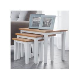 image-Cleo Set Of 3 Wooden Nesting Tables In White And Oak