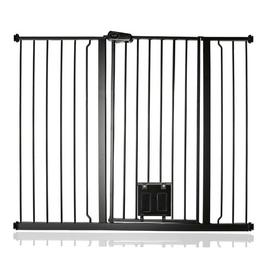 image-Maxen Safety Gate with Lockable Cat Flap Archie & Oscar Finish: Grey, Size: 104 cm H x 127.9cm W