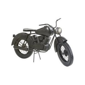 image-Aged Effect Black Metal Motorbike Ornament W145