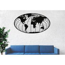image-Metal Globe World Map Wall Décor Ebern Designs Size: 56cm H x 101cm W x 2cm D