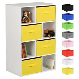 image-Hartleys White 8 Cube Kids Storage Unit & 4 Handled Box Drawers - Yellow
