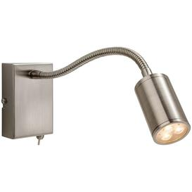 image-Firstlight Orion LED 3454BS Brushed Steel Flexible Wall Reading Lamp
