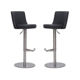 image-Fabio Bar Stools In Grey Faux Leather In A Pair