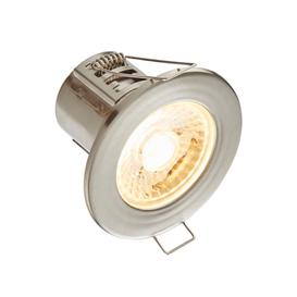 image-8W SMD LED Fire Rated Downlight, Dimmable, IP65 Rated, Satin Nickel Finish - Warm Light 3000K.